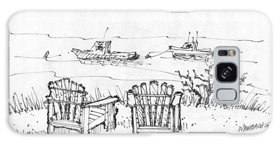 The Island Inn Galaxy S8 Case featuring the drawing Room For Two Monhegan Island 1993 by Richard Wambach