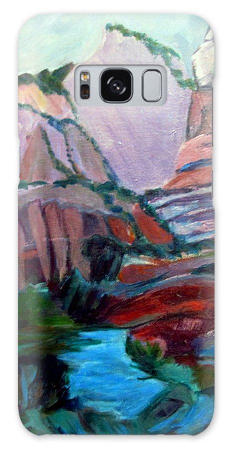 Zion National Park Galaxy S8 Case featuring the painting Roots And Rock Of Zion by Betty Pieper