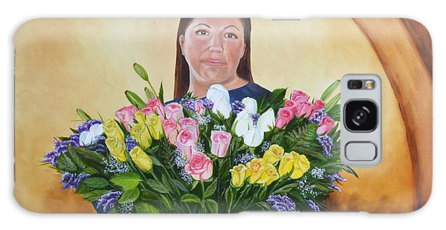 People Galaxy S8 Case featuring the painting Rosa's Roses by Mary Rogers