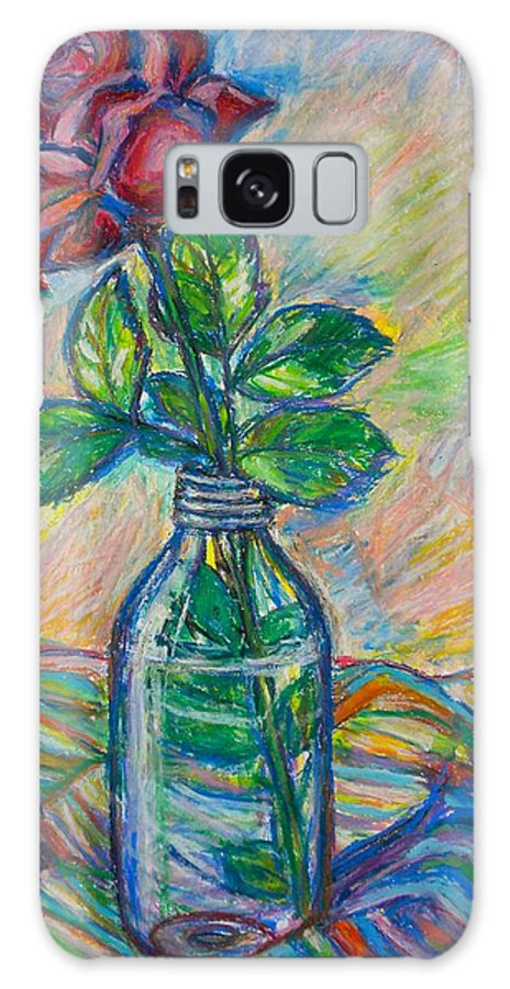 Still Life Galaxy S8 Case featuring the painting Rose In A Bottle by Kendall Kessler