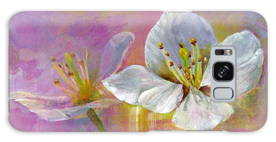 Acrylic Galaxy Case featuring the painting Rose Pecher by Muriel Dolemieux