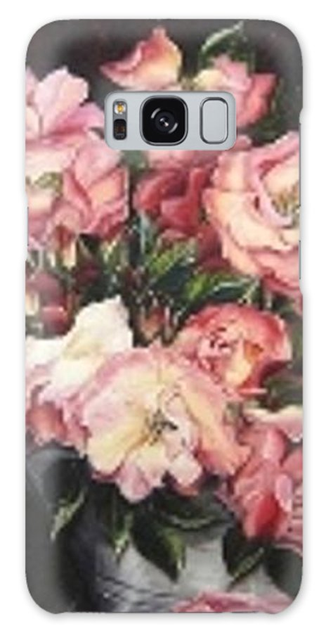Pink Roses Floral Flowers Galaxy S8 Case featuring the painting Roses In A Watercan by Karin Dawn Kelshall- Best