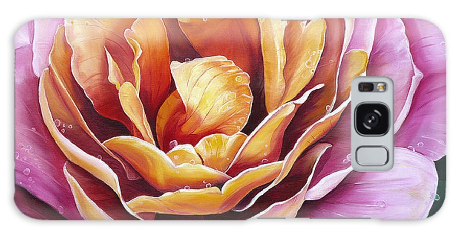 Rose Painting Pink Yellow Floral Painting Flower Bloom Botanical Painting Botanical Painting Galaxy S8 Case featuring the painting Rosy Dew by Karin Dawn Kelshall- Best