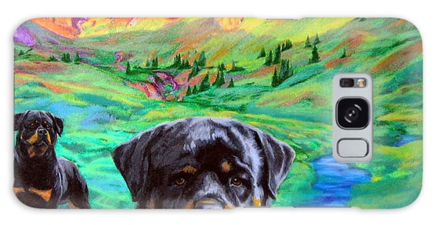 Dog Art Galaxy S8 Case featuring the painting Rottweiler Dogs Landscape Painting Bright Colors by Aaliyah Scott