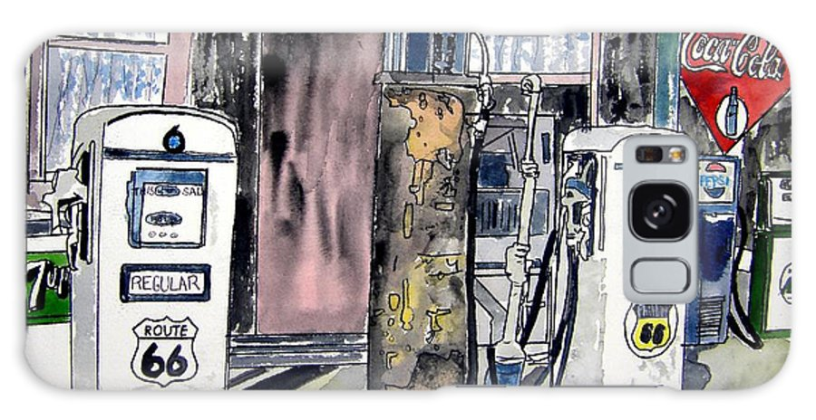 Watercolor Galaxy Case featuring the painting Route 66 gas station by Derek Mccrea