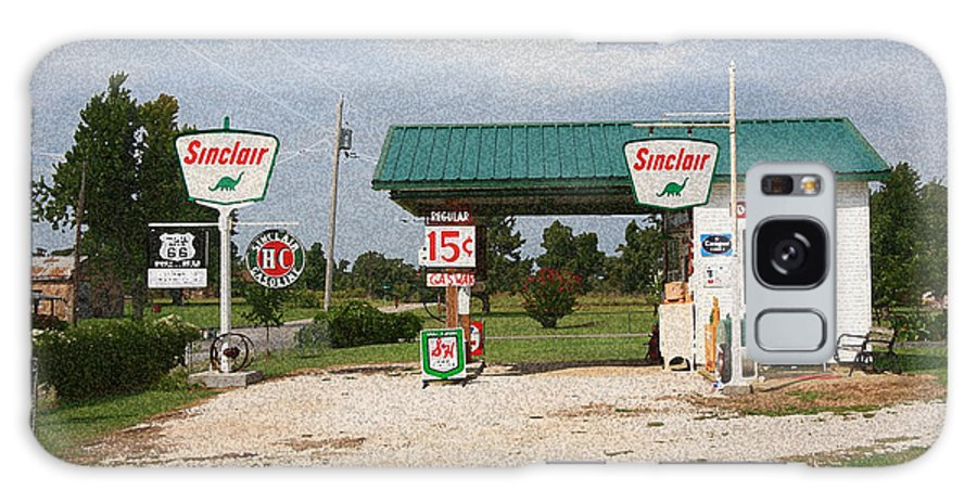 66 Galaxy S8 Case featuring the photograph Route 66 Gas Station With Sponge Painting Effect by Frank Romeo