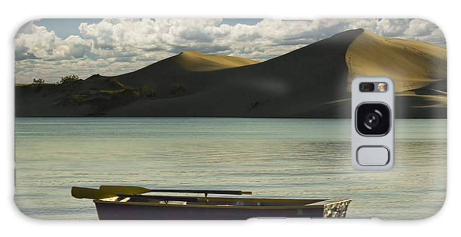 Art Galaxy S8 Case featuring the photograph Row Boat On Silver Lake With Dunes by Randall Nyhof