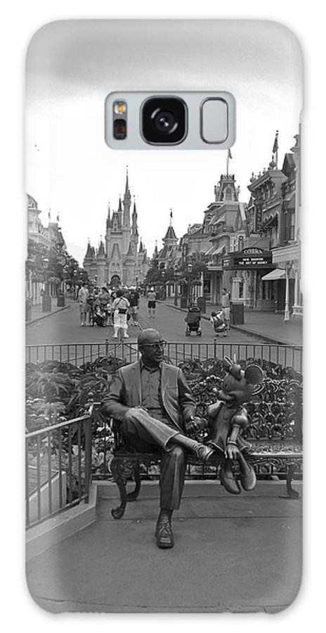 Black And White Galaxy S8 Case featuring the photograph Roy And Minnie Mouse Black And White Magic Kingdom Walt Disney World by Thomas Woolworth