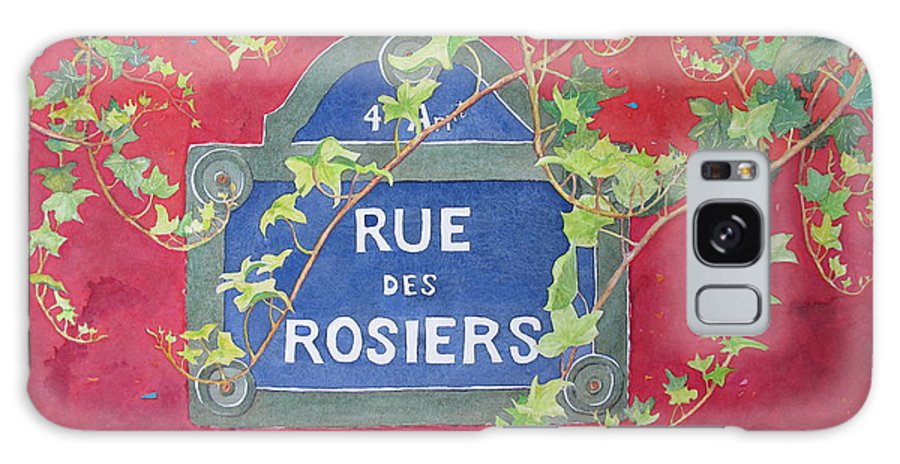 Red Wall Galaxy Case featuring the painting Rue Des Rosiers In Paris by Mary Ellen Mueller Legault