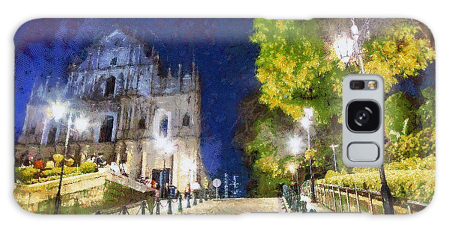 Ruins Of St Paul Galaxy S8 Case featuring the painting Ruins Of St. Paul's During At Night by Patricia Soon