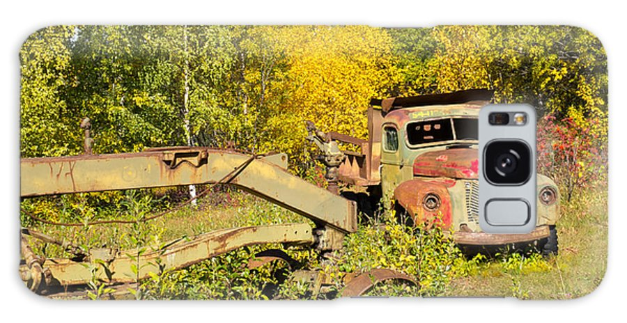 Abandoned Galaxy S8 Case featuring the photograph Rusty Truck And Grader Forgotten In Fall Forest by Stephan Pietzko