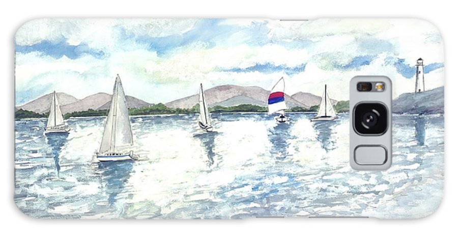 Sailboats Galaxy Case featuring the painting Sailboats by Derek Mccrea