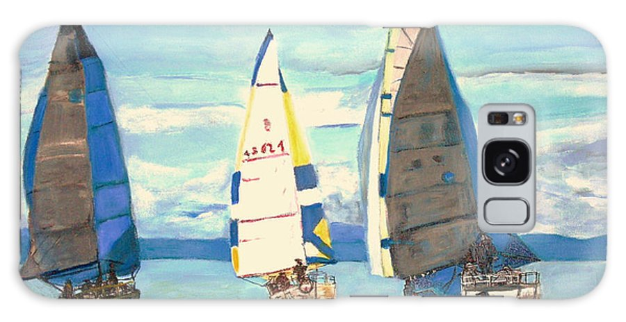 Seascape Galaxy S8 Case featuring the painting Sailing Regatta At Port Hardy by Teresa Dominici