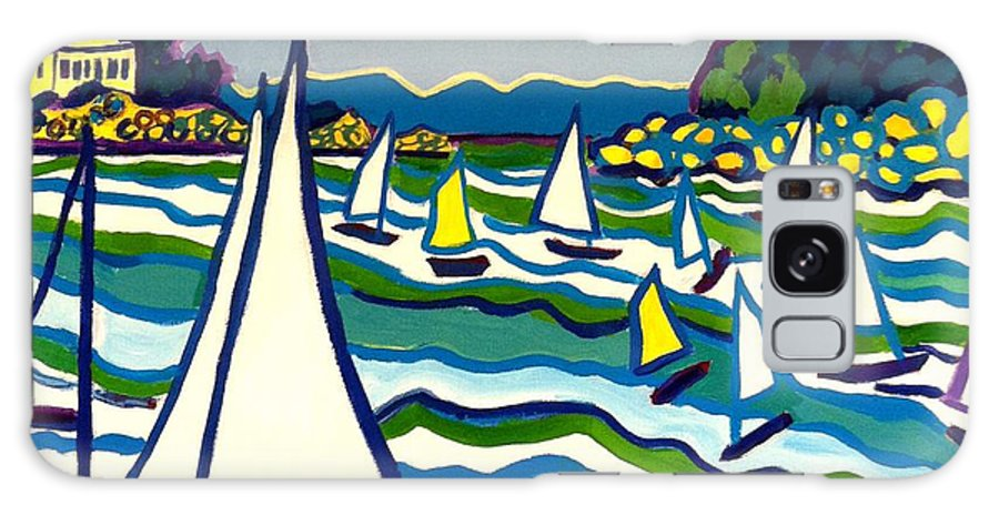 Landscape Galaxy Case featuring the painting Sailing School Manchester by-the-sea by Debra Bretton Robinson