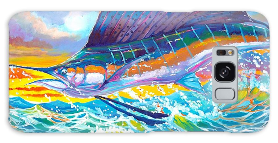 Sailfish Galaxy S8 Case featuring the painting Sailing The Sunset by Yusniel Santos