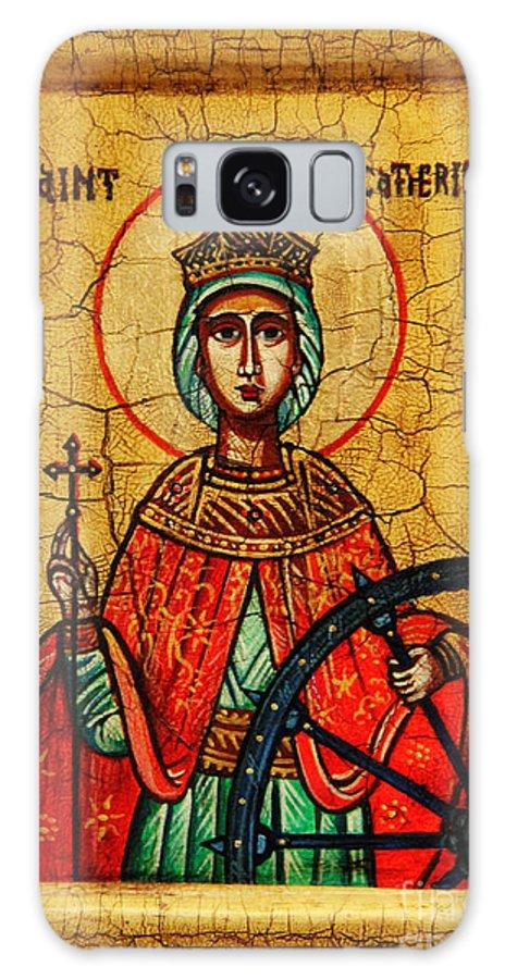 Saint Catherine Icon Galaxy S8 Case featuring the painting Saint Catherine Of Alexandria Icon by Ryszard Sleczka