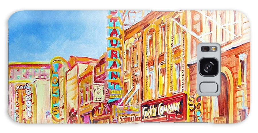 Paintings Of Montreal Galaxy S8 Case featuring the painting Saint Catherine Street Montreal by Carole Spandau