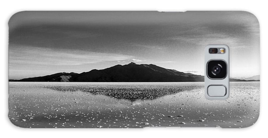 Salt Flat Galaxy S8 Case featuring the photograph Salt Cloud Reflection Black And White by For Ninety One Days
