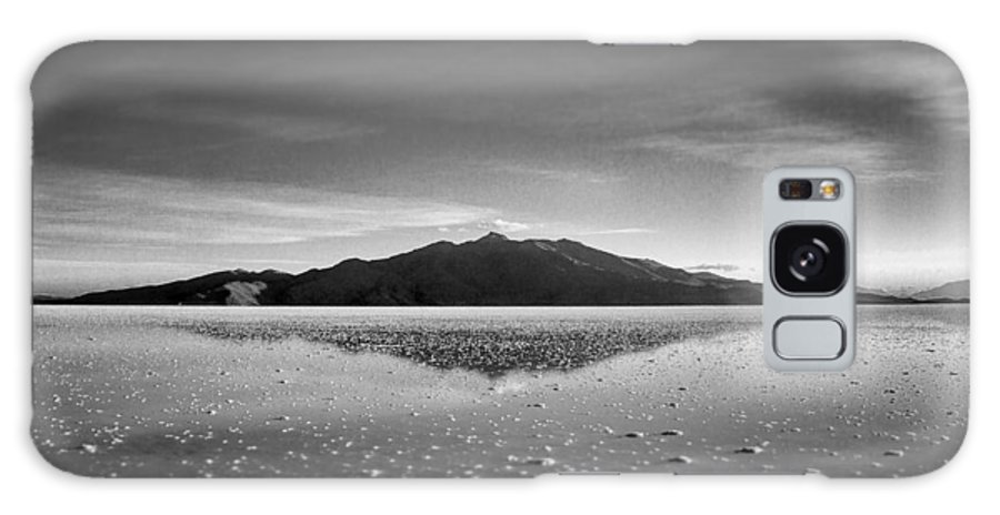 Salt Flat Galaxy S8 Case featuring the photograph Salt Cloud Reflection Black And White Select Focus by For Ninety One Days