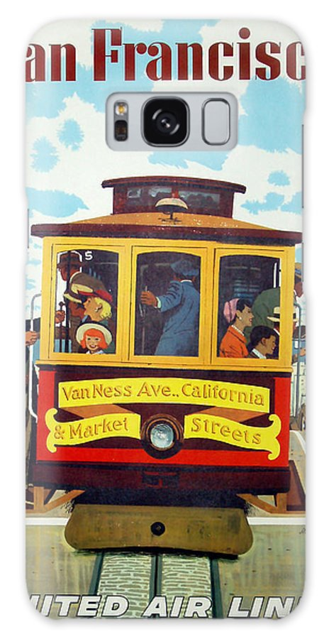 Cable Car Galaxy S8 Case featuring the mixed media San Francisco Trolley by David Wagner