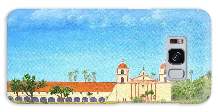 Santa Barbara Galaxy S8 Case featuring the painting Santa Barbara Mission by Jerome Stumphauzer