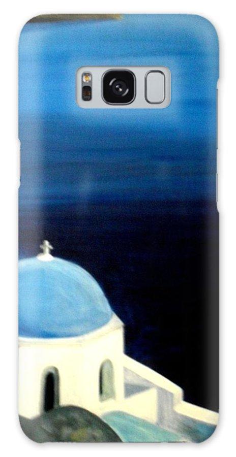 Santorini Galaxy S8 Case featuring the painting Santorini by Lefteris Skaliotis