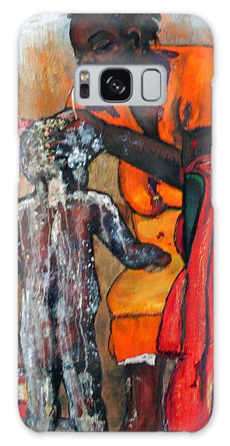 Mom Bathing Boy Galaxy S8 Case featuring the painting Saturday Night Bath by Peggy Blood
