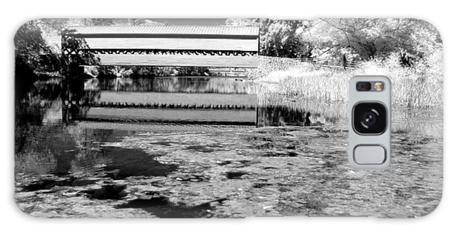 Ir Galaxy S8 Case featuring the photograph Saucks Bridge - Pond - Bw by Paul W Faust - Impressions of Light