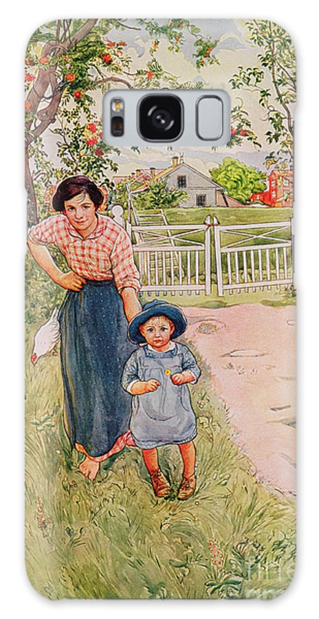 Mother; Son; Sunhat Galaxy S8 Case featuring the painting Say A Nice How Do You Do To Your Uncle by Carl Larsson