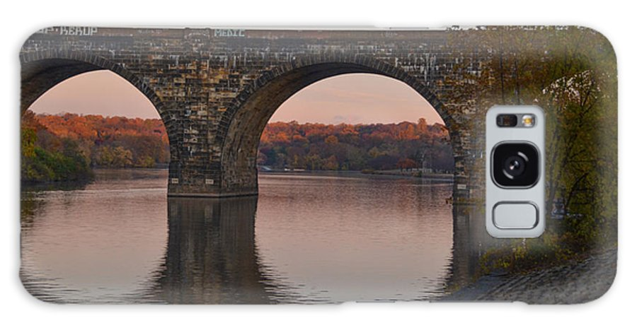 Schuylkill Galaxy S8 Case featuring the photograph Schuylkill River Railroad Bridge In Autumn by Bill Cannon