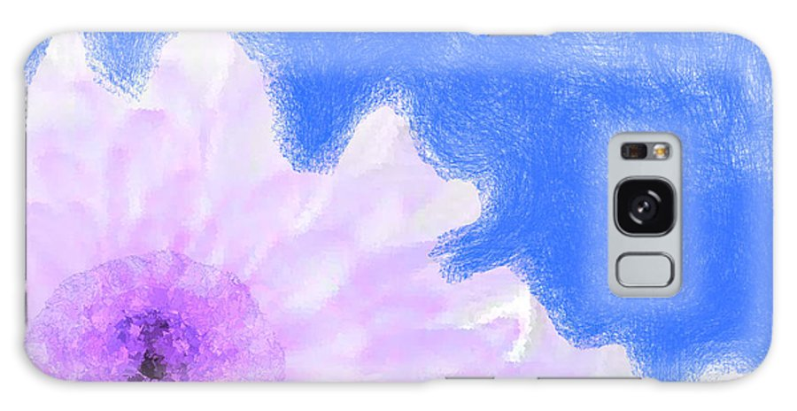 Flowers Galaxy S8 Case featuring the digital art Scream And Shout Purple White Blue by Holley Jacobs