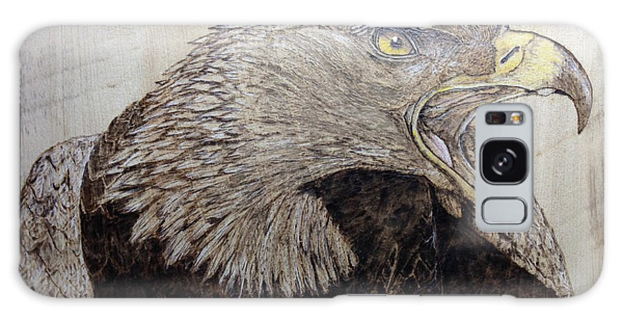 Bird Galaxy S8 Case featuring the pyrography Screaming Gold by Cindy Jo Burleson