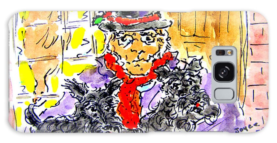 Scrooge Galaxy S8 Case featuring the painting Scrooge And Scotties by Joyce Kenney
