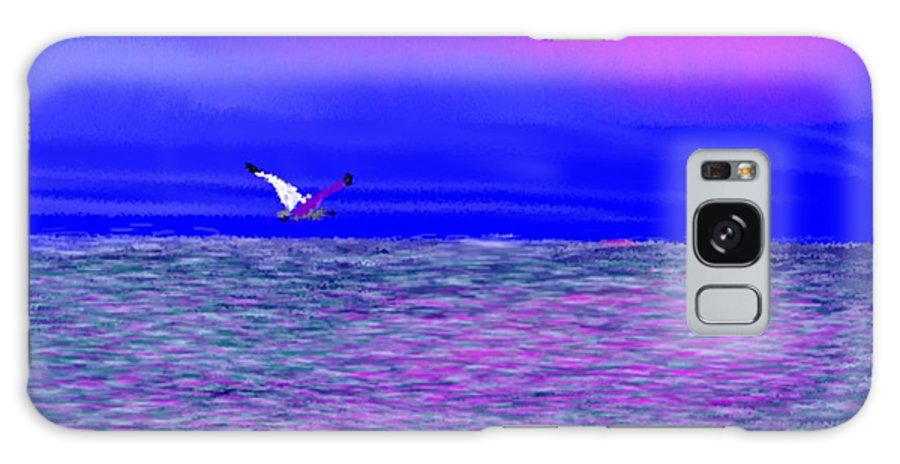 Evening.sky.clouds.sunrays.sun.sunset.sea.waves.colors.blue.pink.red.dark Blue Galaxy S8 Case featuring the digital art Sea. Last Rays Of Sun by Dr Loifer Vladimir