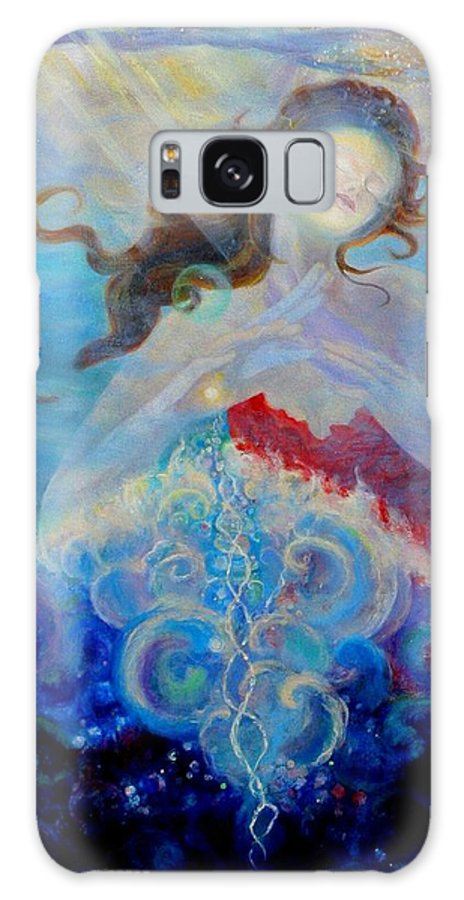 Sea Galaxy S8 Case featuring the painting Sea Of The Soul Figure Detail by Anne Cameron Cutri