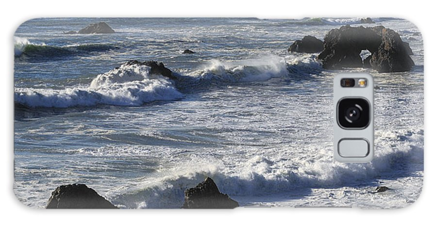 Bodega Bay California Wave Waves Water Oceans Sea Seas Pacific Ocean Bays Rock Rocks Spray Shore Shores Shoreline Shorelines Coast Coasts Coastline Coastlines Waterscape Waterscapes Galaxy S8 Case featuring the photograph Sea View by Bob Phillips