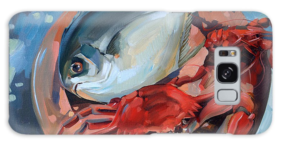 Seafood Galaxy S8 Case featuring the painting Seafood Still Life by Larisa Ivakina-Clevenger