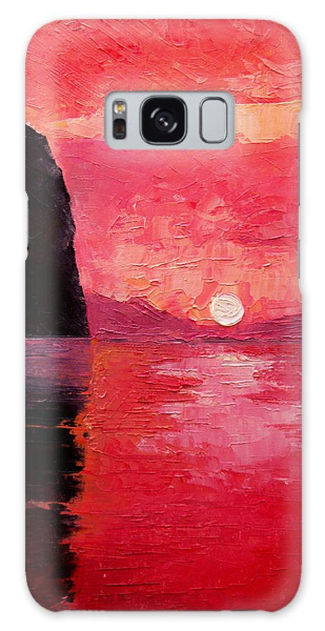 Landscape Galaxy S8 Case featuring the painting Seaside Sunset by Sergey Bezhinets