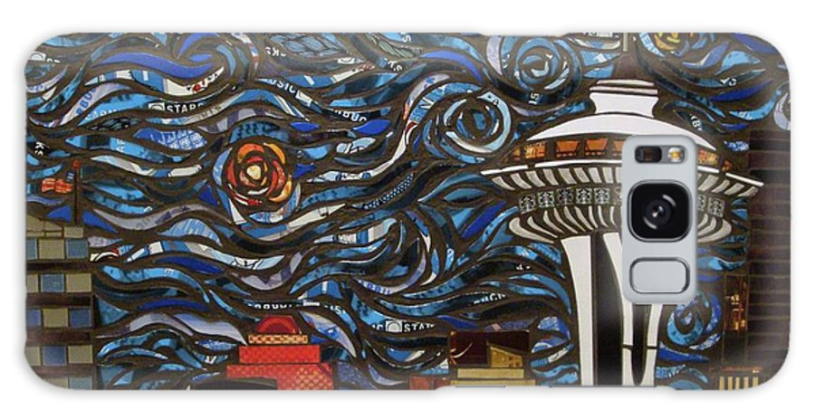 Seattle Galaxy S8 Case featuring the mixed media Seattle Starry Night by Mary Ellen Bowers