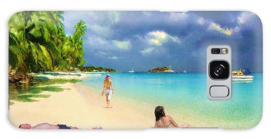 Sunny Galaxy S8 Case featuring the digital art Serene Beach Scene by Jon David