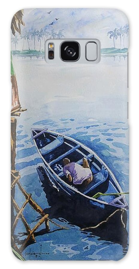 Riverscape Painting Galaxy S8 Case featuring the painting Serenity by Peter Schaub - Nzoley
