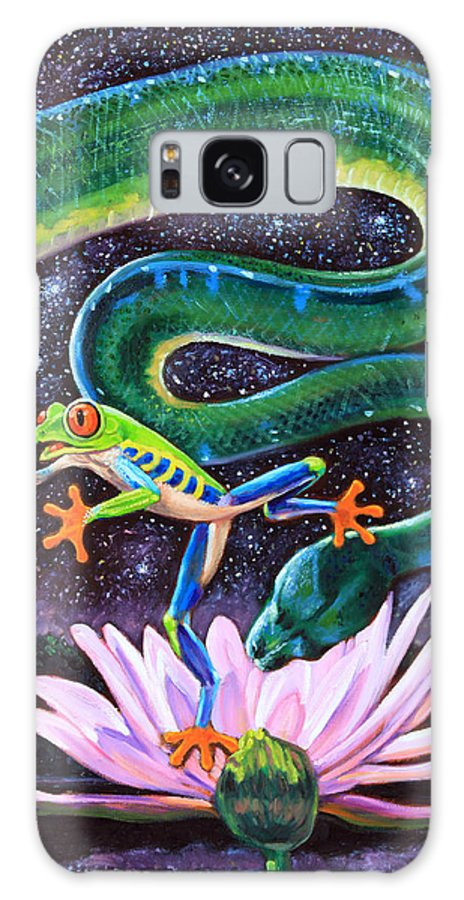 Frog Galaxy Case featuring the painting Serpent In The Garden by John Lautermilch