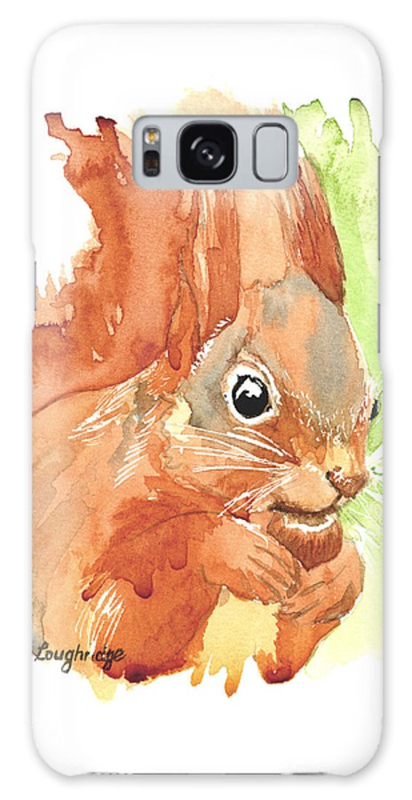 Red Squirrel Galaxy S8 Case featuring the painting Shadow Tail Red Squirrel by Karen Loughridge KLArt