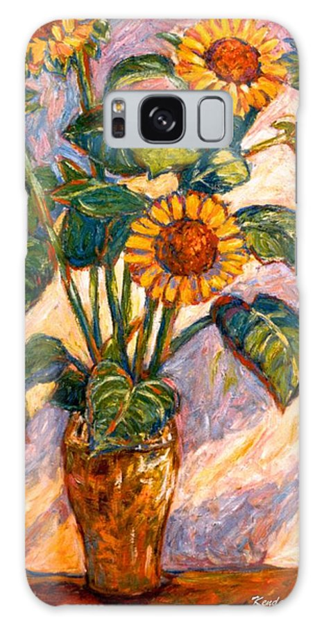 Floral Galaxy Case featuring the painting Shadows On Sunflowers by Kendall Kessler