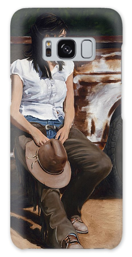 Cowgirl Galaxy S8 Case featuring the painting Shanti Waiting by Jack Atkins