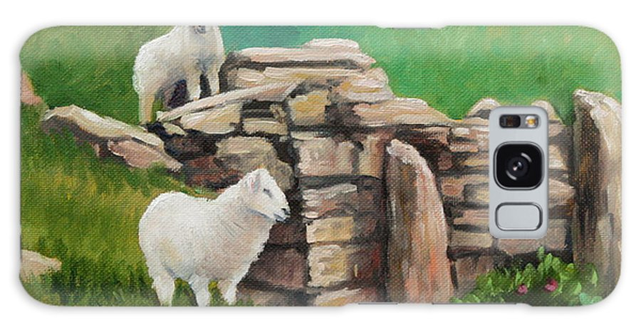 Sheep Galaxy S8 Case featuring the painting Sheep On A Rock Wall by Hilary England