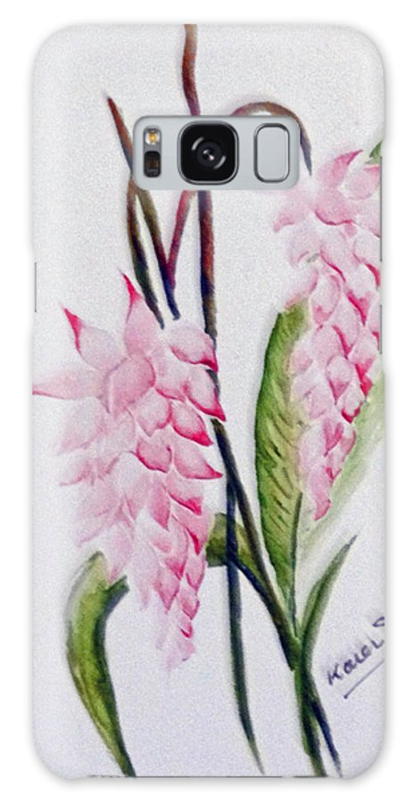 Tropical Ginger Galaxy Case featuring the painting Shell Ginger by Karin Dawn Kelshall- Best