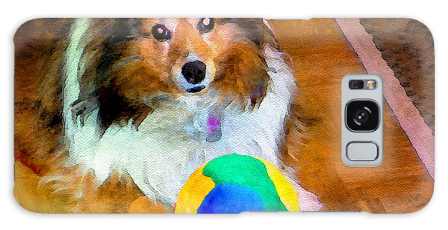 Sheltie Galaxy S8 Case featuring the photograph Sheltie With Ball by Scott Hervieux