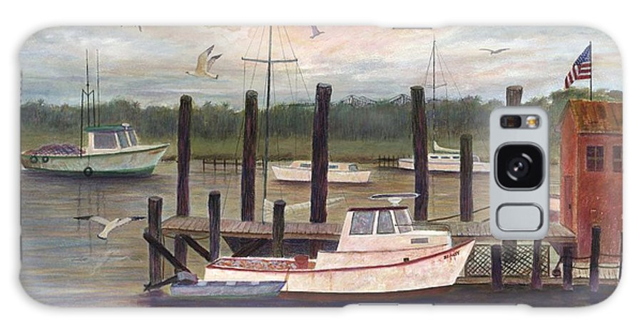 Charleston; Boats; Fishing Dock; Water Galaxy Case featuring the painting Shem Creek by Ben Kiger