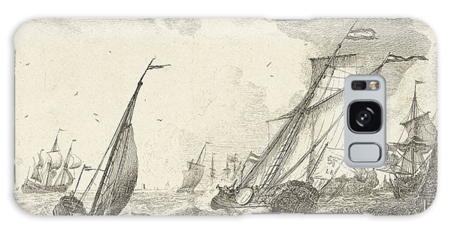 1701 Galaxy S8 Case featuring the drawing Ships At Sea, Ludolf Bakhuysen by Quint Lox